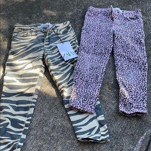 X2 Zara animal cheetah tiger leopard kids jeans
